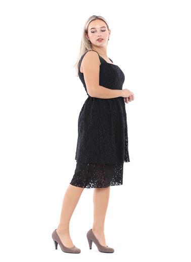Sense Lastik Askılı Dantel Abiye Elbise 32251 Siyah